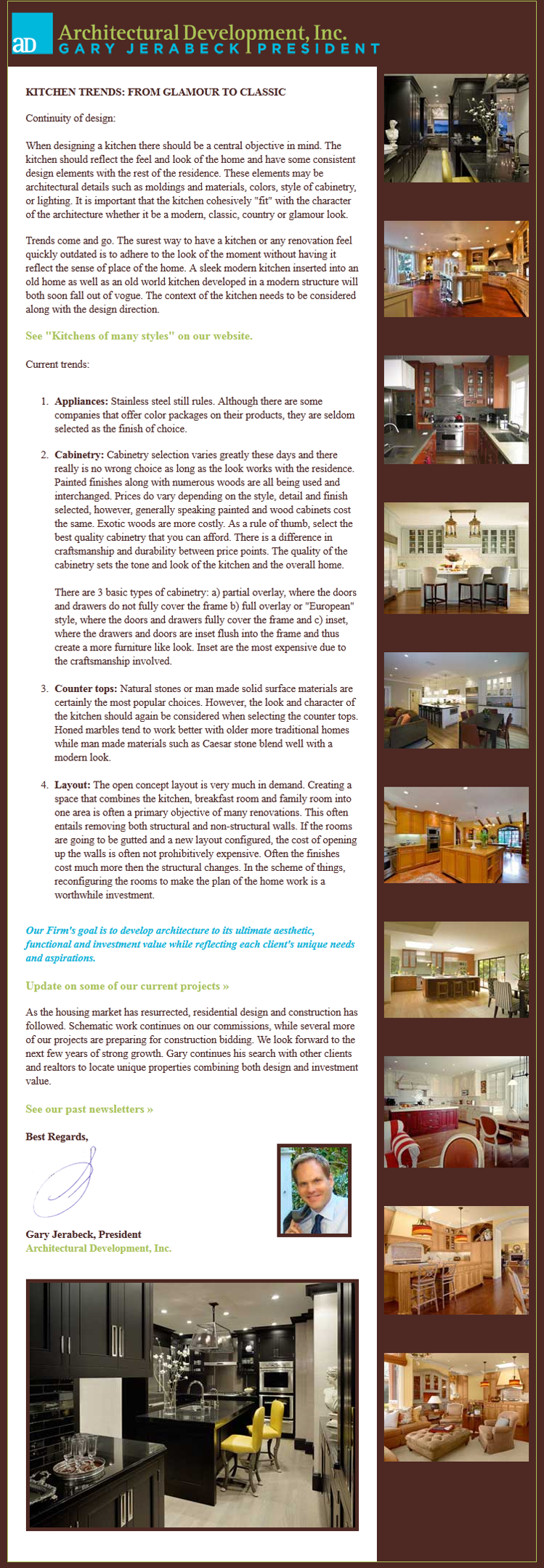 Architectural Development, Inc., Newsletter 8, February 2013