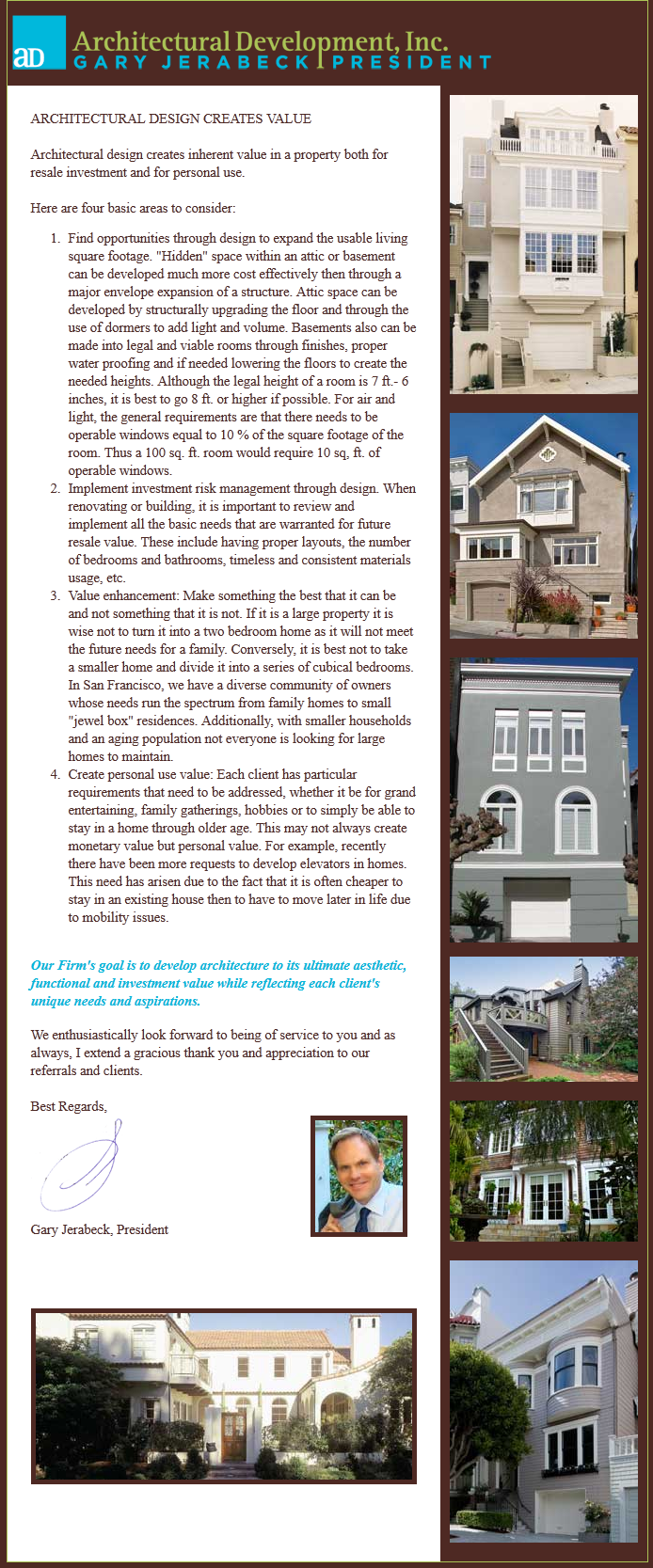Architectural Development, Inc., Newsletter 5, August 2012