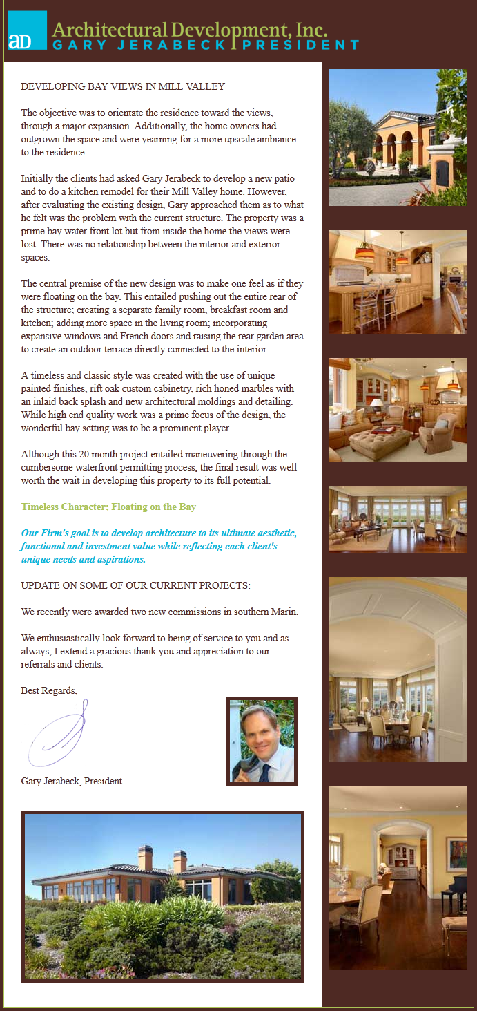 Architectural Development, Inc., Newsletter 4, July 2012