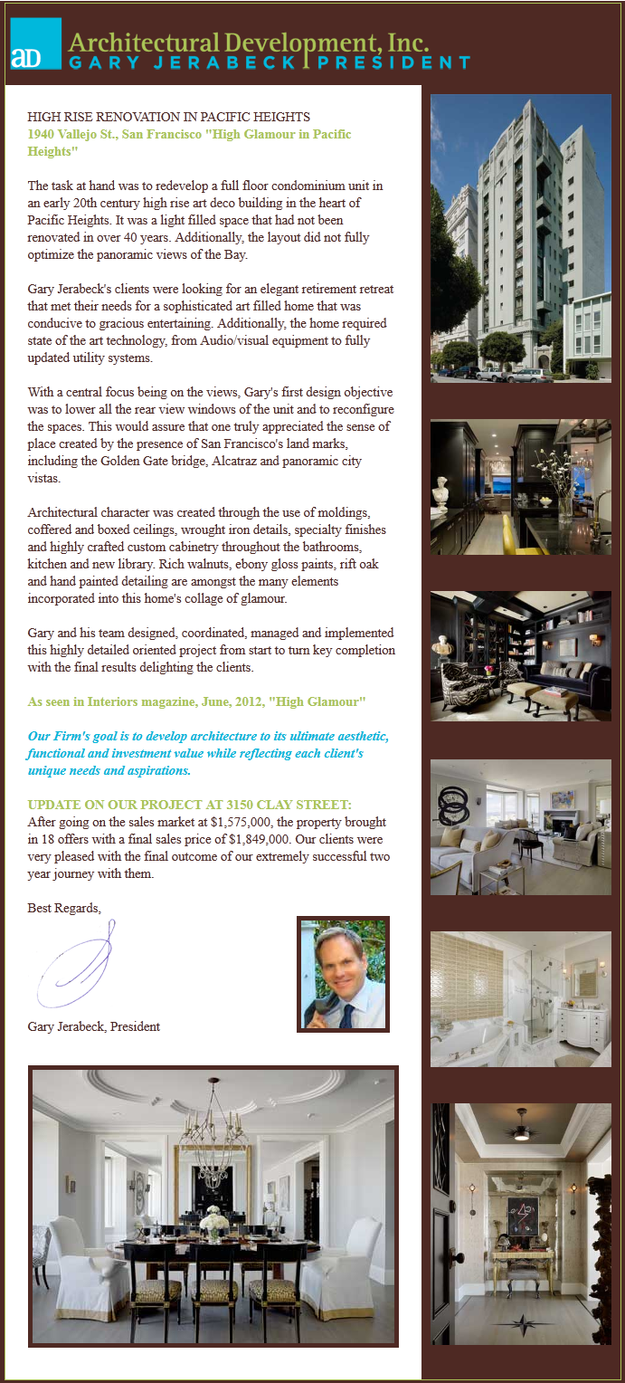 Architectural Development, Inc., Newsletter 3, June 2012