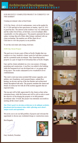 Architectural Development, Inc., Newsletter 2, May 2012