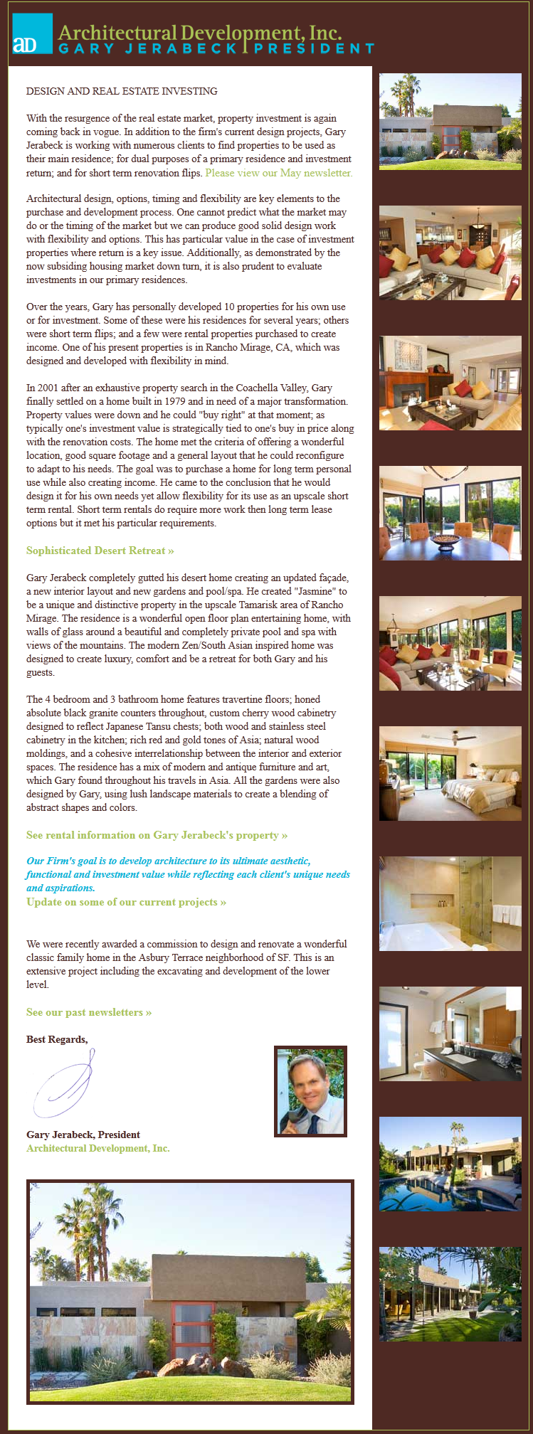 Architectural Development, Inc., Newsletter 7, October 2012
